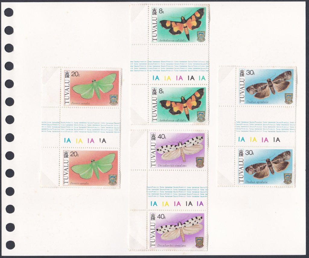 Stamps of Tuvalu. 1980. Moths. Set of four in Gutter Pairs. SG149-152.