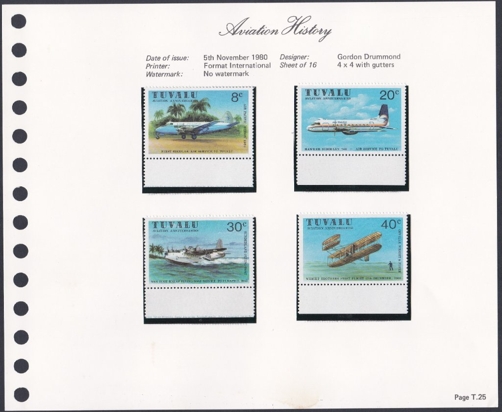 Stamps of Tuvalu. 1980. Aviation History. Set of four. SG153-156.