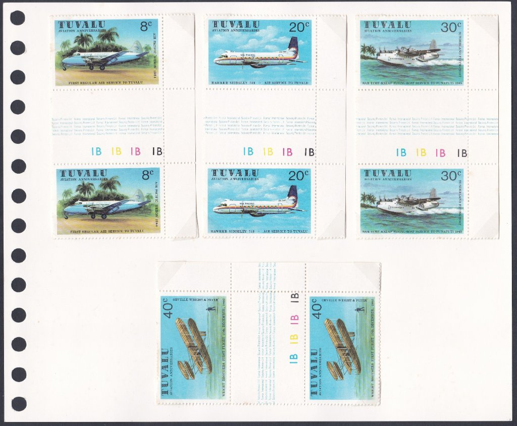 Stamps of Tuvalu. 1980. Aviation History. Set of four in Gutter Pairs. SG153-156.