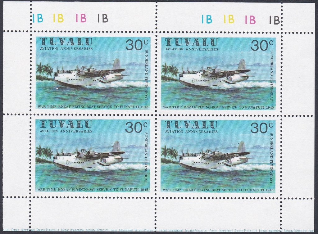 Stamps of Tuvalu. 1980. Aviation History. The 30c value in a sheetlet of four. SG155.
