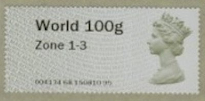 Zone 1 & 3 100g Worldwide Post and Go stamp first issued 1.9.2020.