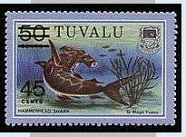 Stamps of Tuvalu. 1981. Surch. 45 Cents on 50c Hammerhead.