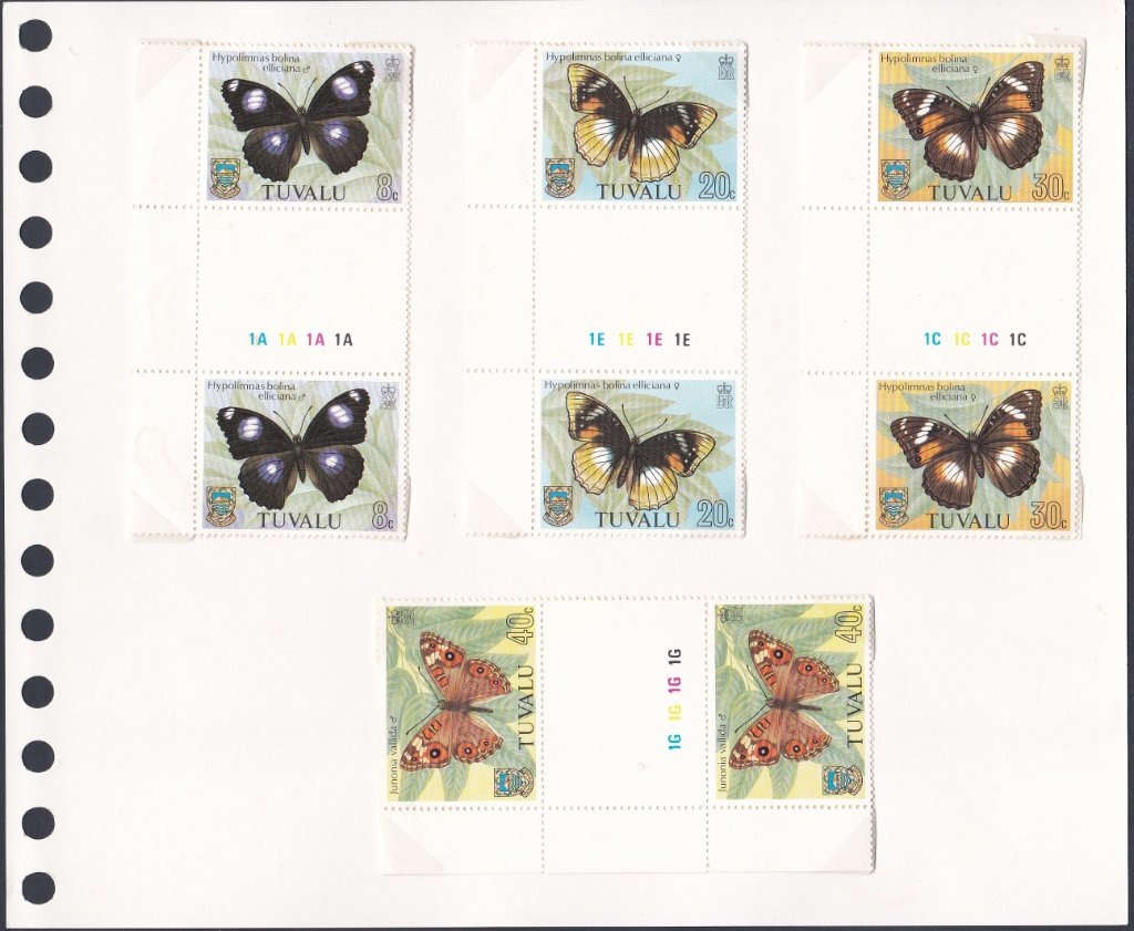 Stamps of Tuvalu. 1981. Butterflies. Set of four in Gutter Pairs. SG158-161.