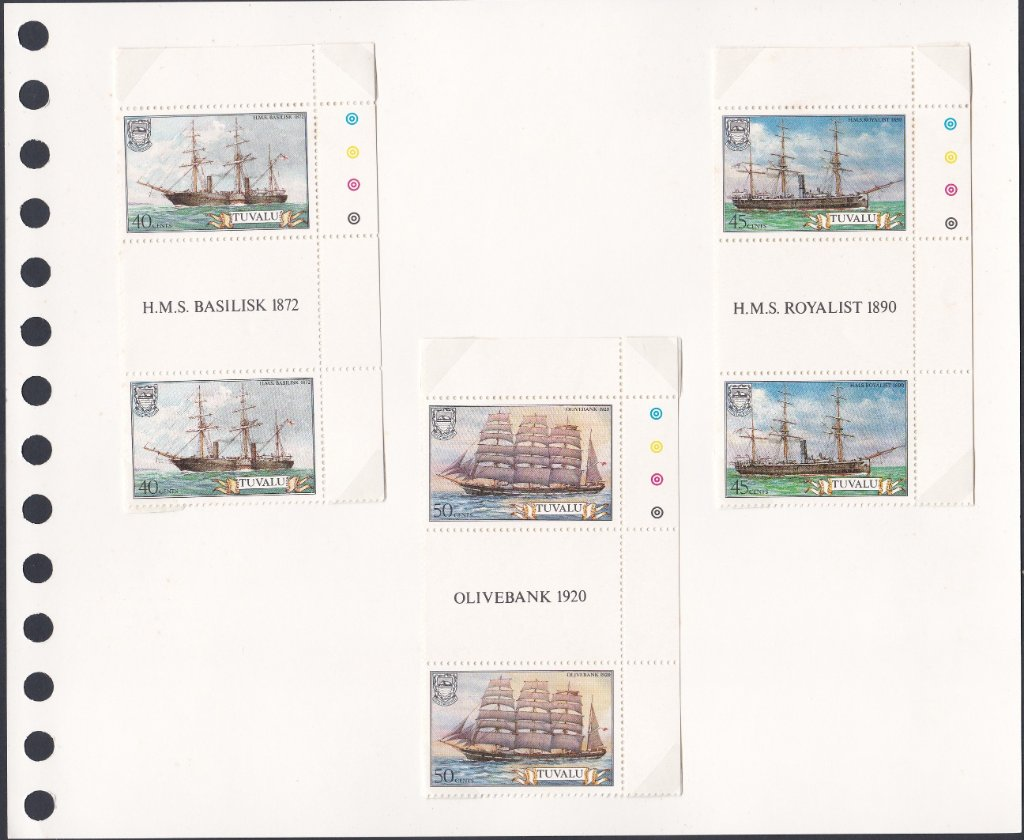 Stamps of Tuvalu. 1981. Ships. 1st series. Set of six in Gutter Pairs. Sg162-167.