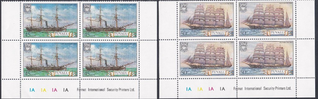 Stamps of Tuvalu. 1981. Ships. 1st series. Set of six in Blocks of Four. SG162-167.