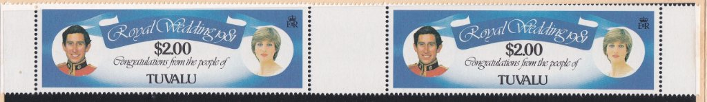 Stamps of Tuvalu. 1981. Royal Wedding.Royal Yachts. Set of six in Gutter Pairs. SG168-173.