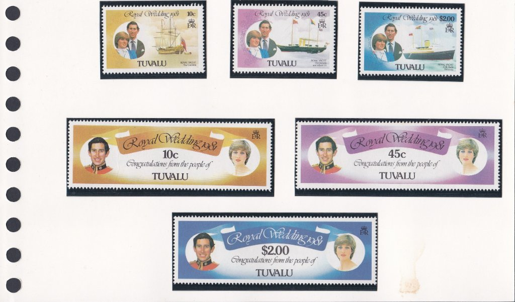 Stamps of Tuvalu. 1981. Royal Wedding.Royal Yachts. Set of six. SG168-173.