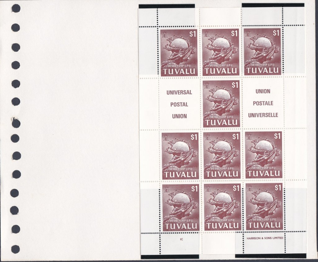 Stamps of Tuvalu. 1981. UPU membership. Set of two stamps in sheetlets of ten. SG177-178.