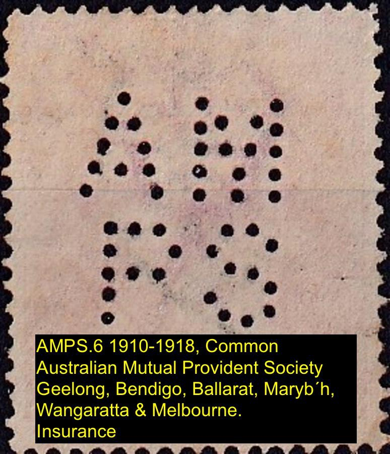 Private Perfin on Australian Postage stamp AMPS