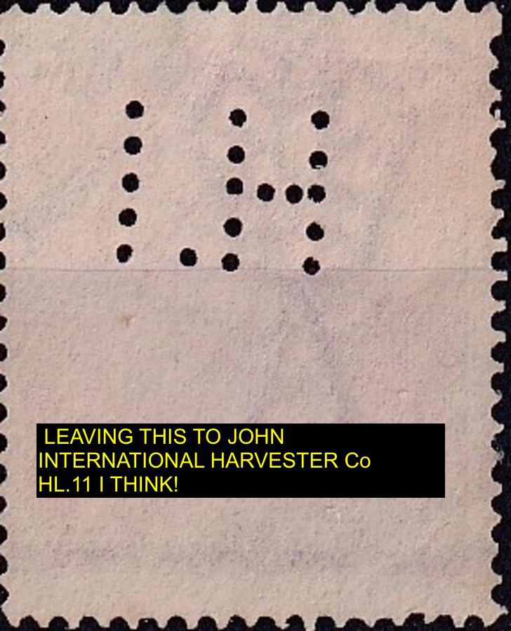Private Perfin on Australian Postage stamp IH