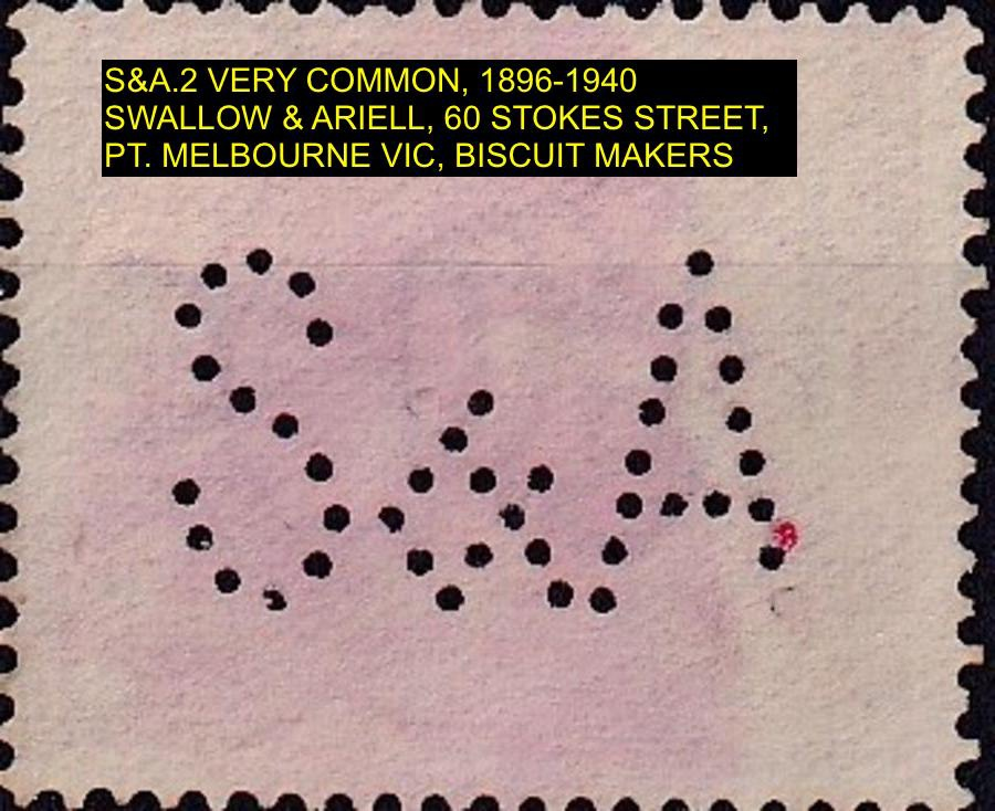 Private Perfin on Australian Postage stamp S&A