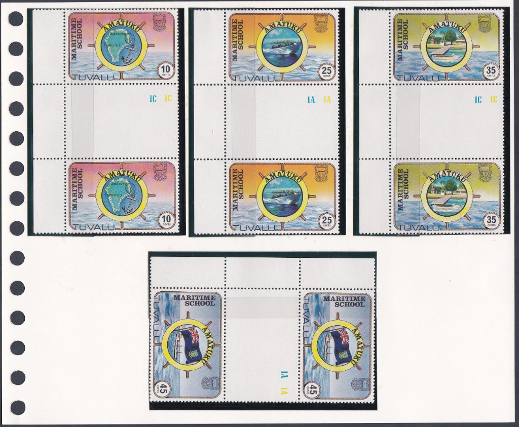 Stamps of Tuvalu. 1982. Amatuku Maritime School. Set of four in Gutter Pairs. SG180-183.