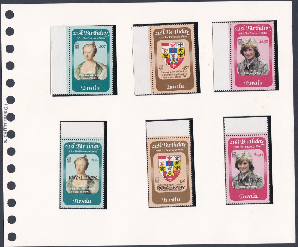 Stamps of Tuvalu. 1982. 21st Birthday of Princess Wales & Royal Baby overprint. SG184-186. 189-191.