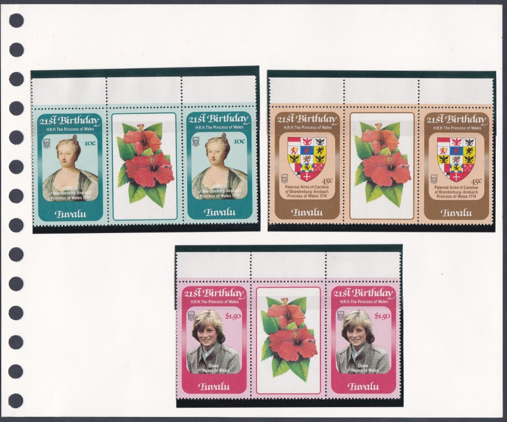 Stamps of Tuvalu. 1982. 21st Birthday of Princess Wales. Set of three in Gutter Pairs. SG184-186.