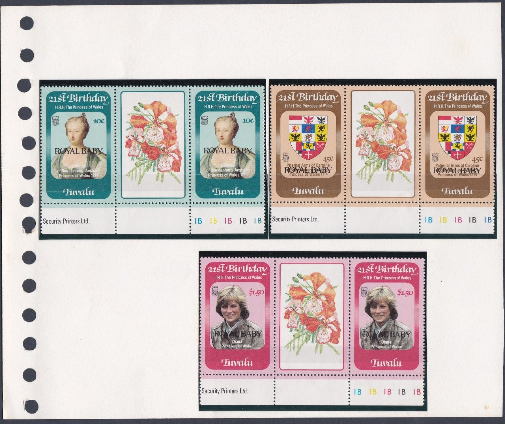 Stamps of Tuvalu. 1982. Royal Baby overprint. Set of three in Gutter Pairs. SG189-191.