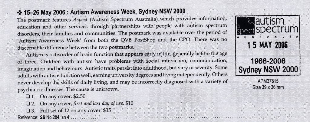 Autism Awareness Week 15th May 2006 APM #37815