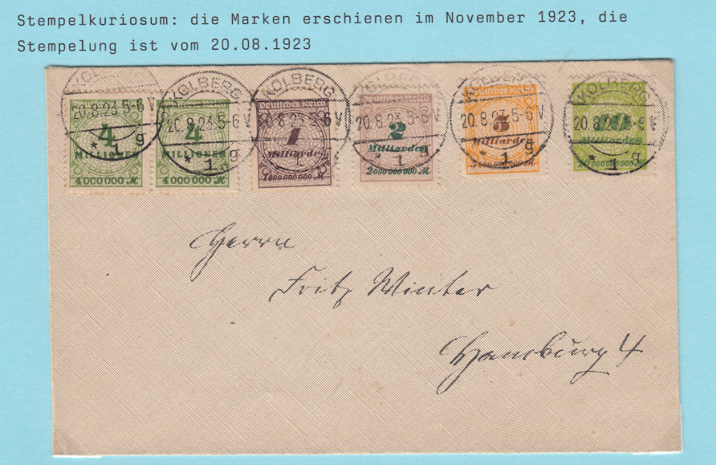 German postage letter with pre-dated cancels
