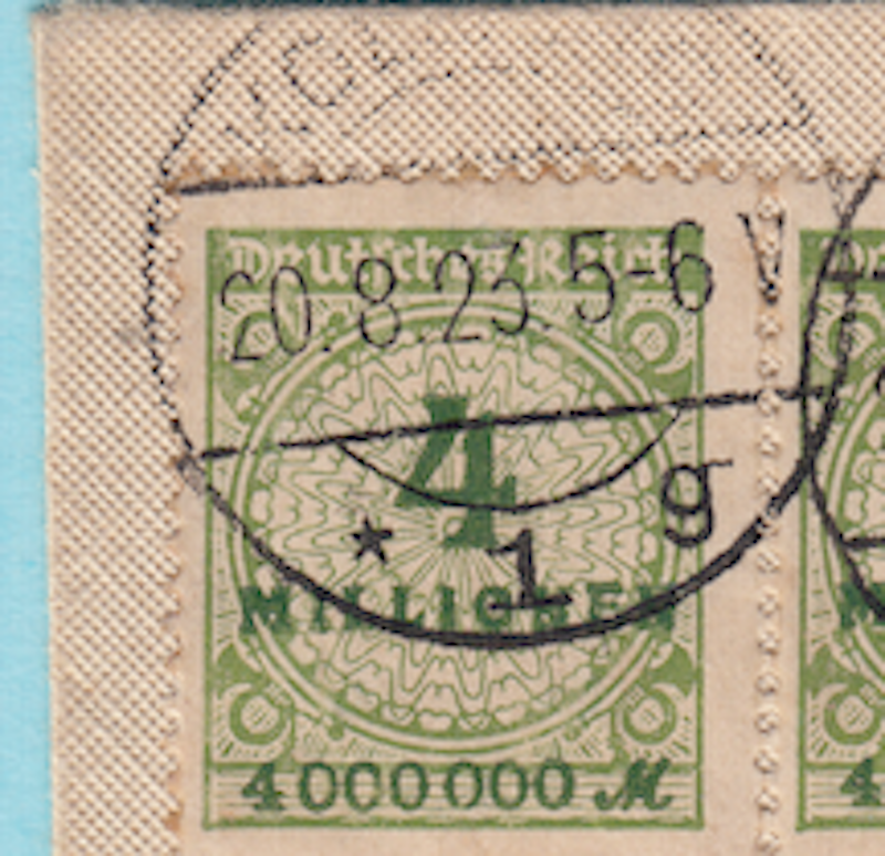 Close up of cancellation date on German postage letter with pre-dated cancellations..