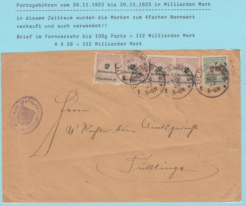 Underpaid German post letter.