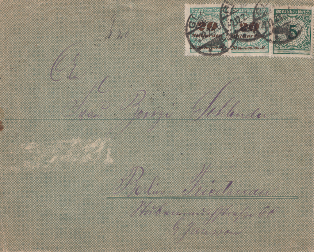 German post letter dated 2.12.23 with mixed currency stamps.