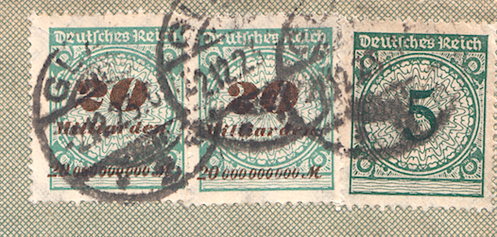 Close up of German post letter dated 2.12.23 mixed currency stamps.