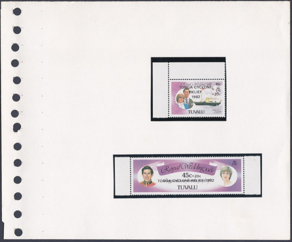Stamps of Tuvalu. 1982. Tonga cyclone relief. Set of two . SG187-188.