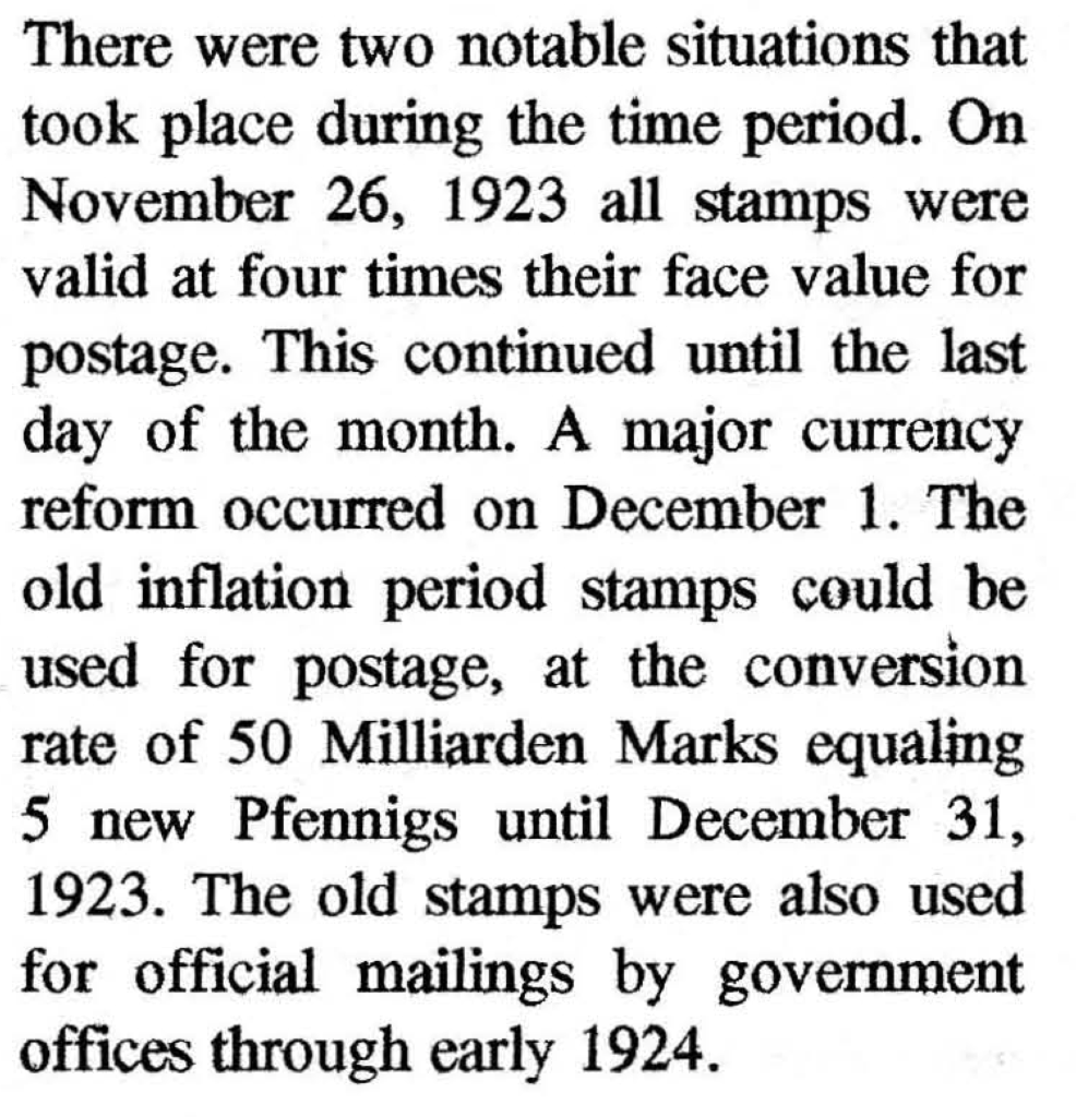 Information on German high inflation period postage stamp usage November and December 1923.