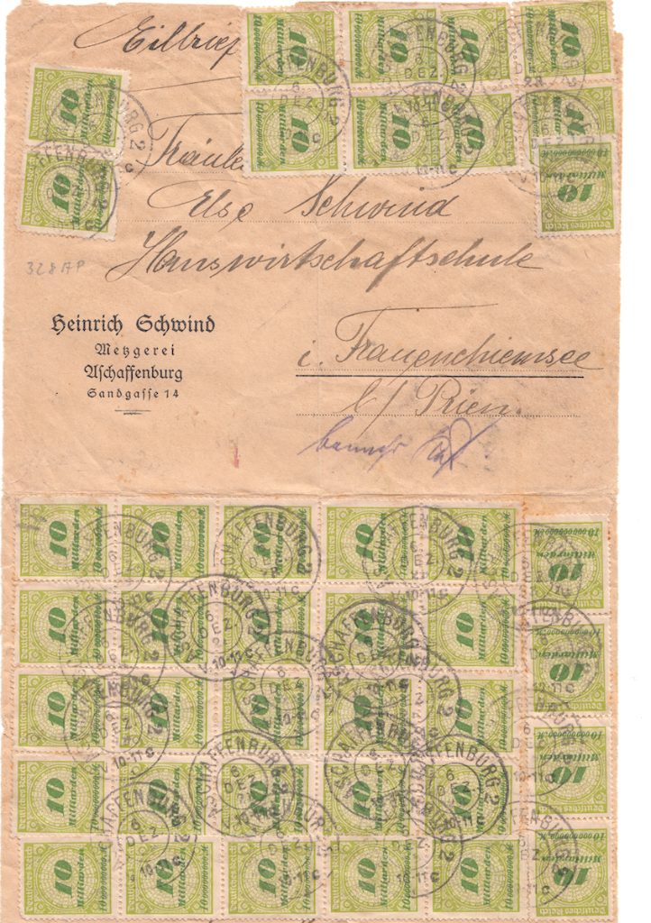 Use of 40 x 10 Milliarden (400 milliarden total) stamps on letter in high inflation era Germany on Dec 6th 1923.