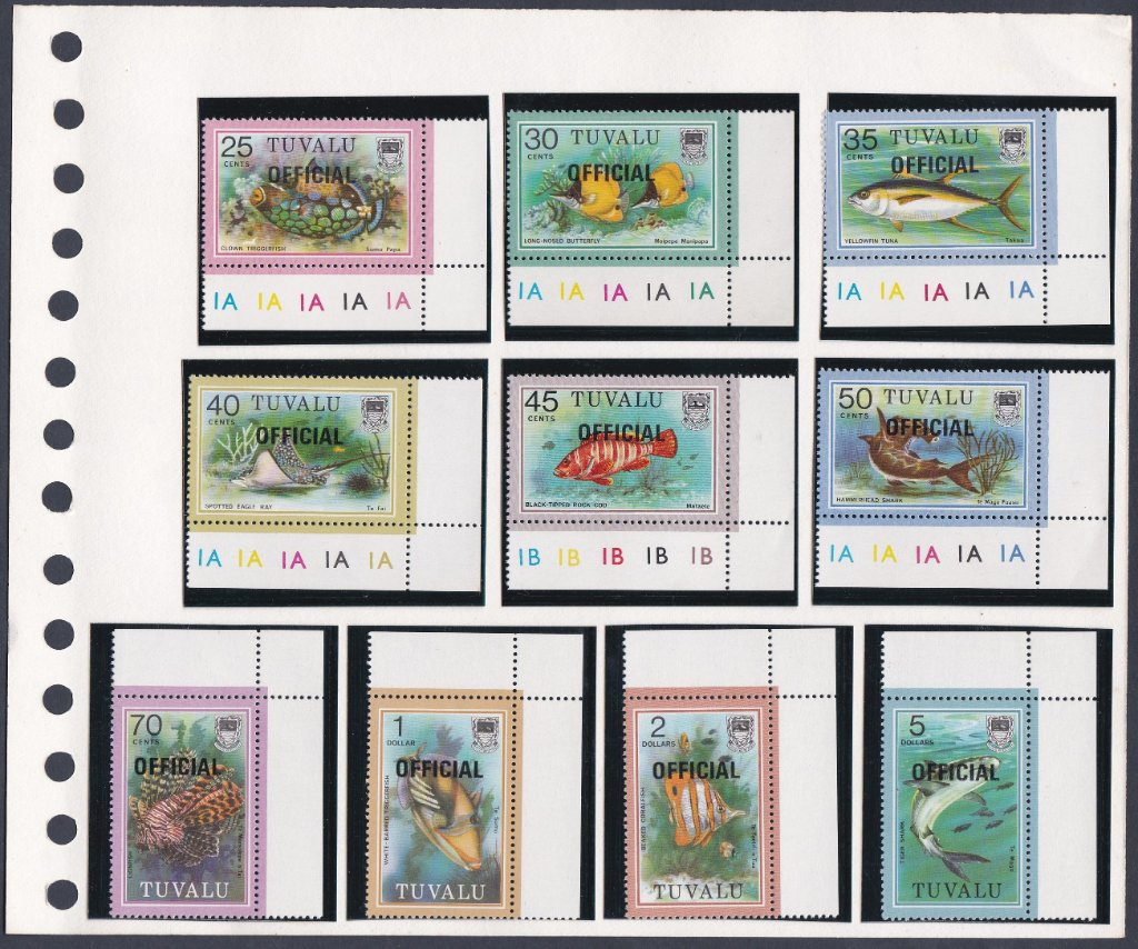 Stamps of Tuvalu. 1981. Fish. Set of 19. SG105-122 overprinted OFFICIAL. SG0-1 to 0-19.
