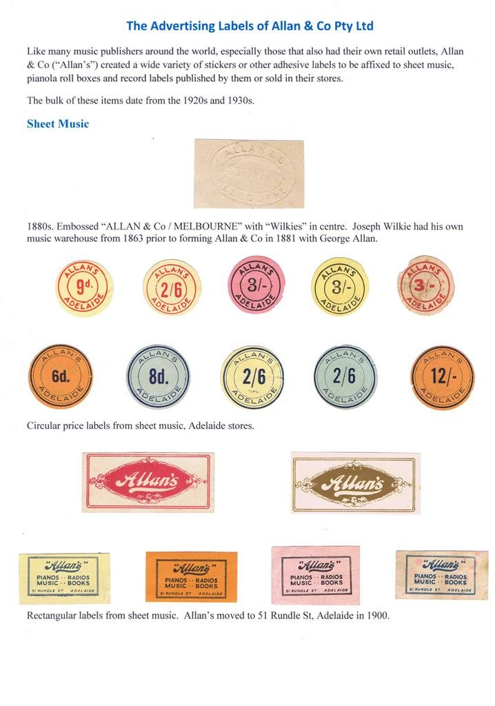 Allan & Co Advertising labels 1