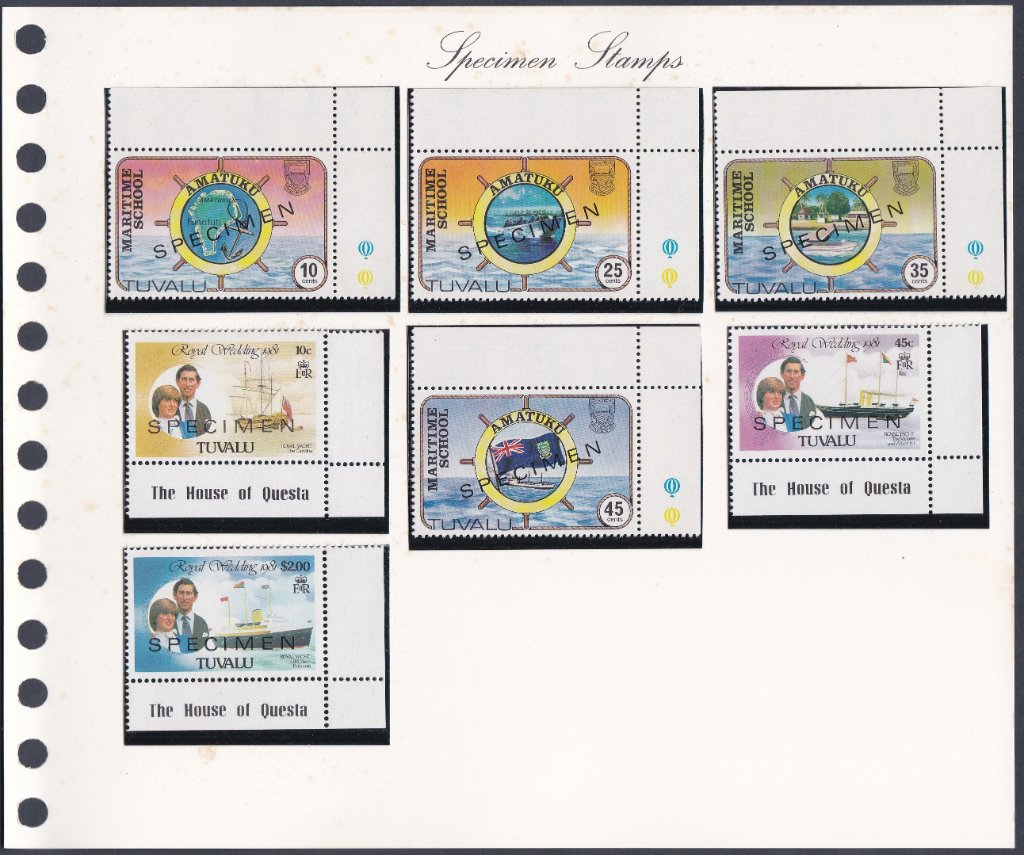 A selection of Tuvalu stamps overprinted SPECIMEN.