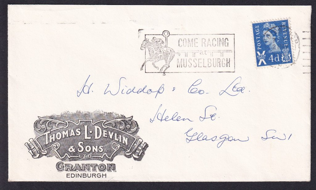 Advertising cover with Come Racing at Musselburgh postmarked Edinburgh 2nd November 1966 from Thomas L Devlin of Granton Edinburgh to H Widdup & Co Glasgow.