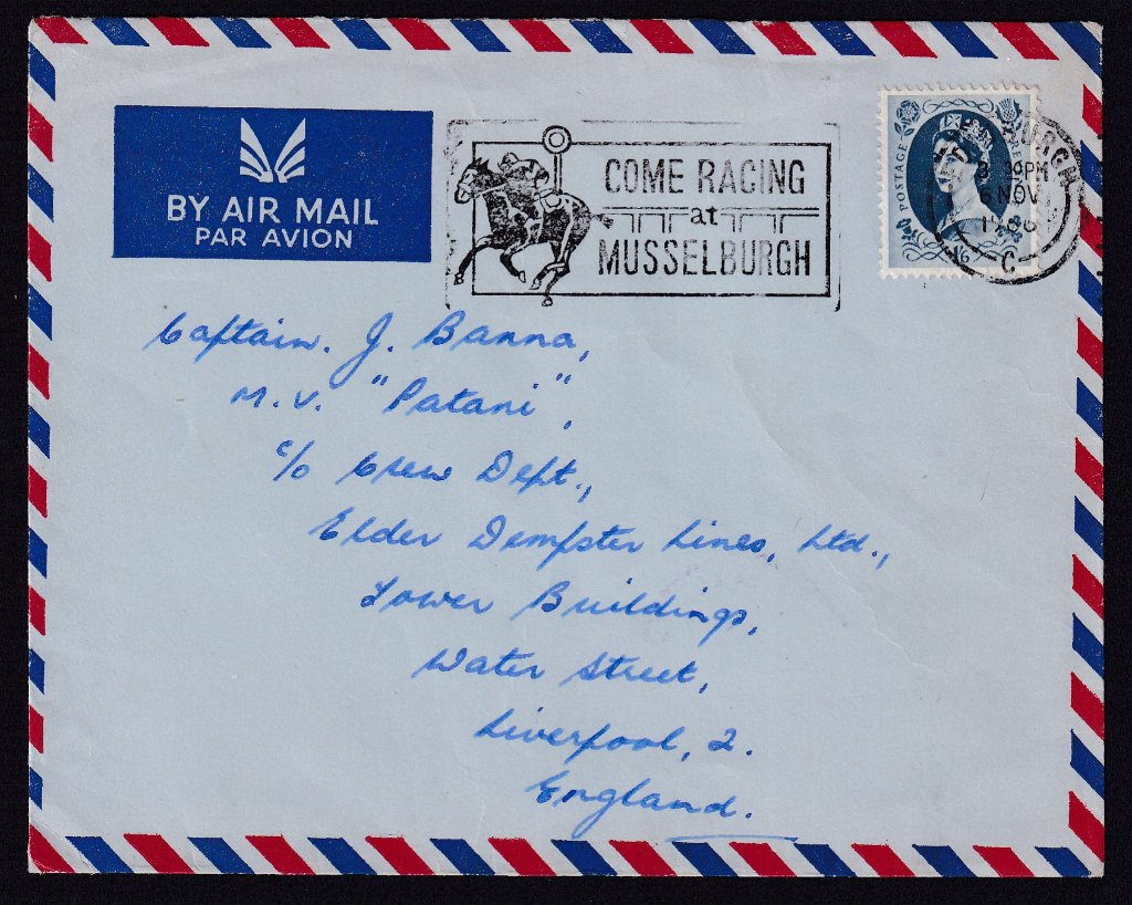 Airmail cover with Come Racing at Musselburgh postmarked Edinburgh 6th November 1966 to Liverpool.