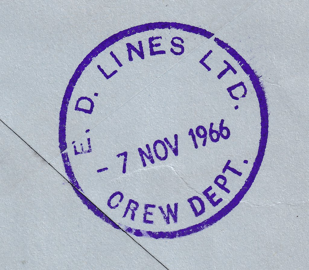 E D Lines Crew Department receiving cds mark in violet dated 7th November 1966