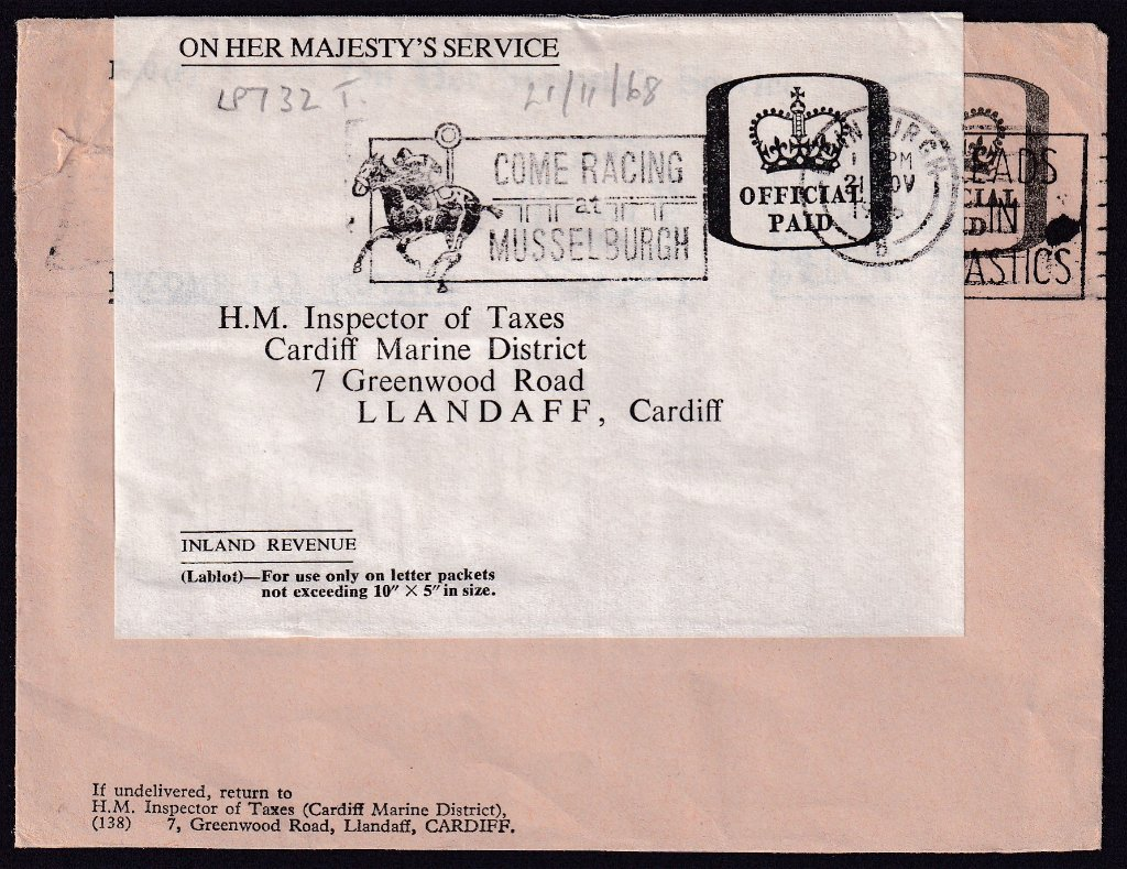 Re-use of an Inland Revenue cover with Come Racing at Musselburgh postmarked Edinburgh 21st November 1966 to Llandaff, Cardiff.