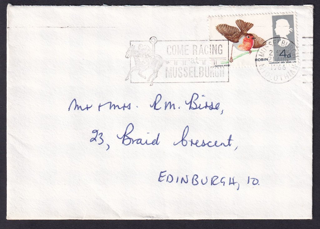 Come Racing at Musselburgh postmarked Musselburgh 21st August 1966 to Edinburgh.