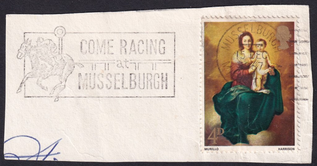 Come Racing at Musselburgh on piece postmarked Musselburgh 15th December 1967.<br /><br />PPP - LP 732t type 222 used from 11th September 1967 to 22nd September 1968.