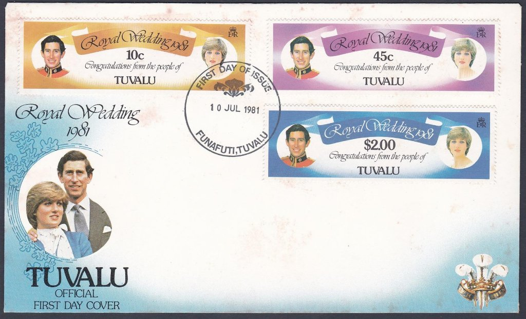 Stamp of Tuvalu 1981 F.D.C. The Royal Wedding Prince Charles and Lady Diana Spencer.