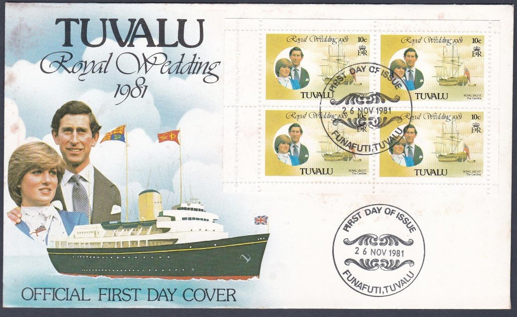 Stamp of Tuvalu 1981 F.D.C. The Royal Wedding of Prince Charles and Lady Diana Spencer.