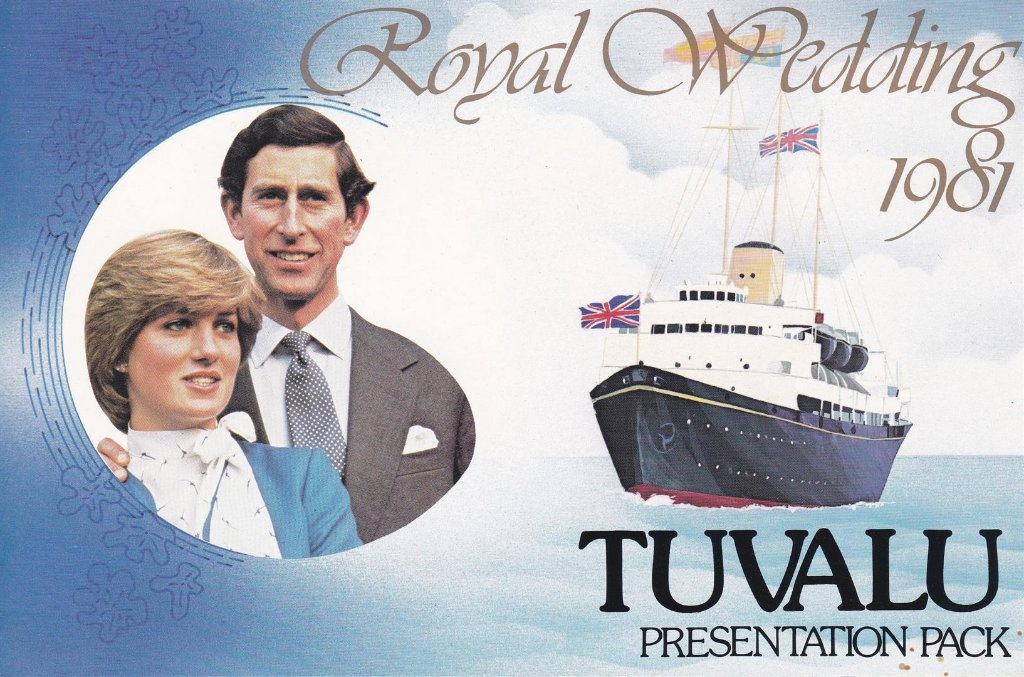 Stamp of Tuvalu  Frontspiece of 1981 Presentation Pack for the Royal wedding. Actual stamps contained, already posted By Ubobo.