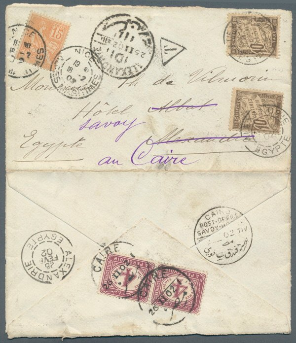 Egypt France  Mixed Franking cover (CG 33).jpg