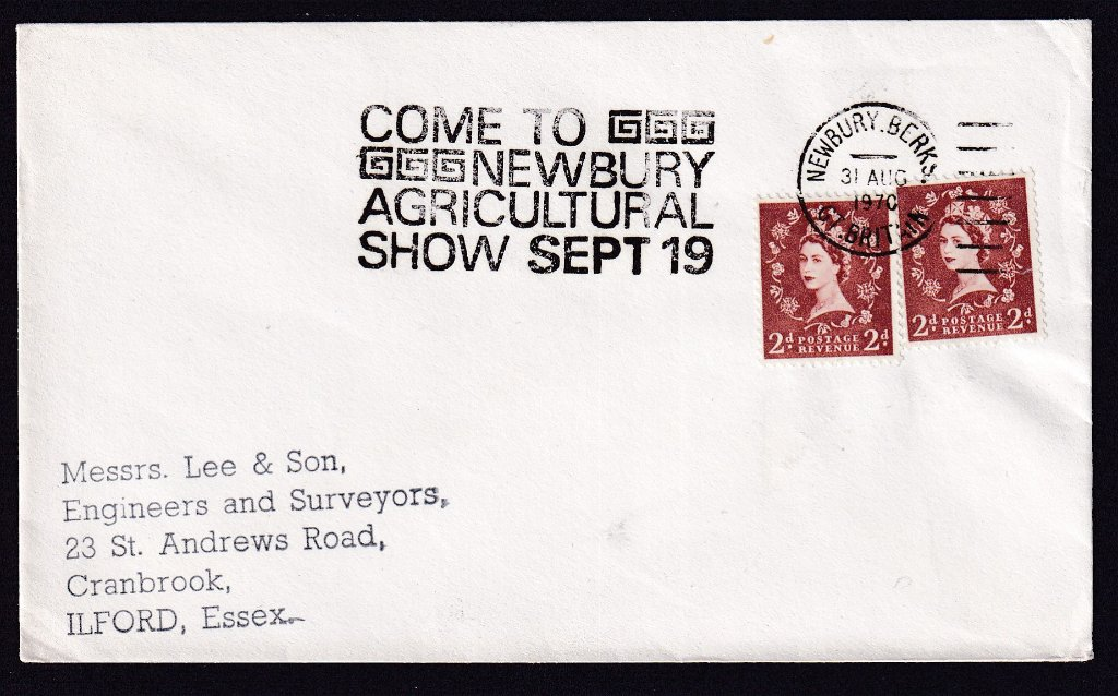 Come to Newbury Agricultural Show Set 19, postmarked Newbury Berkshire 31st August 1970 to Ilford Essex