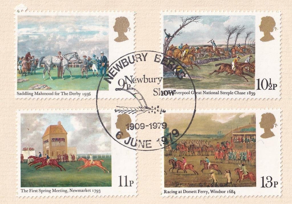 With set of 1979 Horse Racing stamps affixed postmarked 6th June 1979.