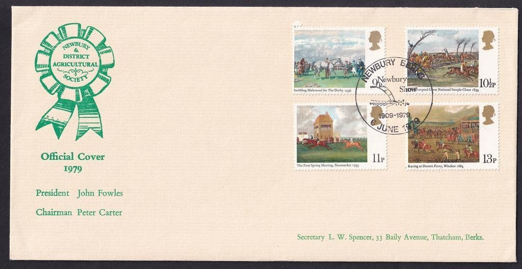 Newbury Show souvenir fdc postmarked with Newbury Show 1909 - 1979 pictorial postmark.