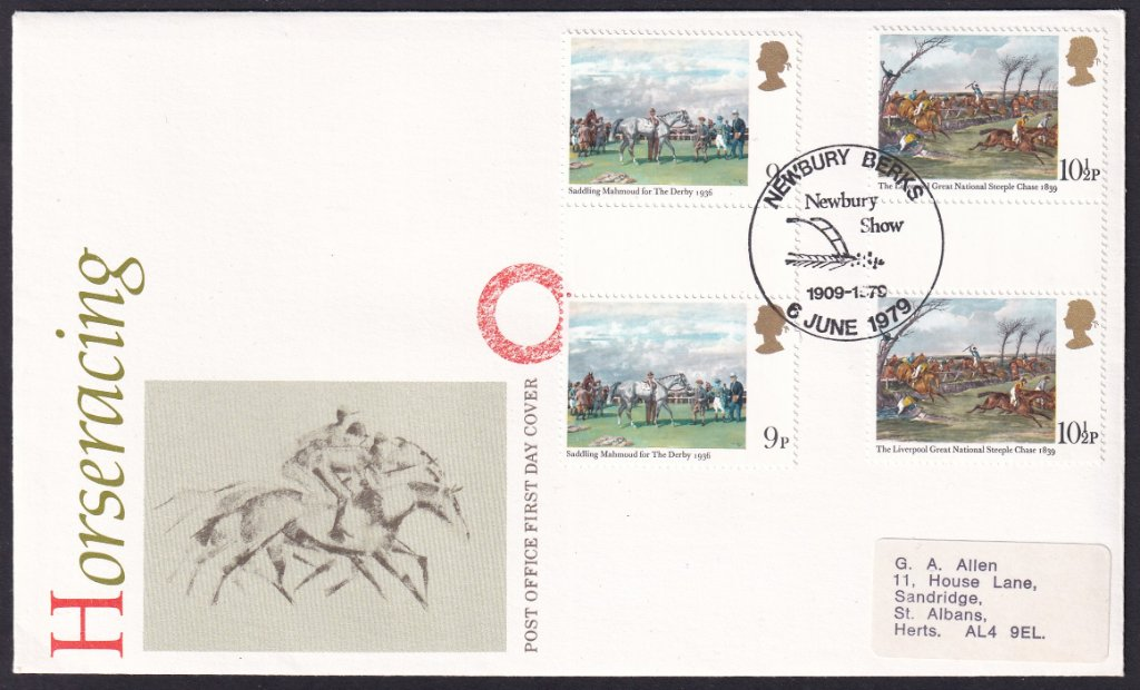 Horse Racing British Post Office fdc postmarked with Newbury Show 1909 - 1979 pictorial postmark<br />with set of 1979 Horse Racing stamps affixed postmarked 6th June 1979.