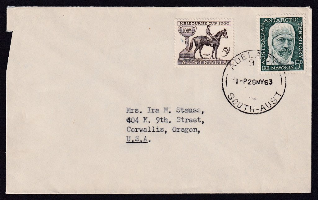 1960 Melbourne Cup 5d stamp with AAT Douglas Mawson 5d postmarked Adelaide cds 28th March 1963.to Oregon USA