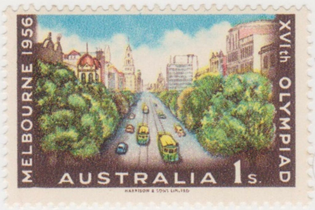 Collins Street, Melbourne featured on the 1956 1/- Melbourne Olympics stamp