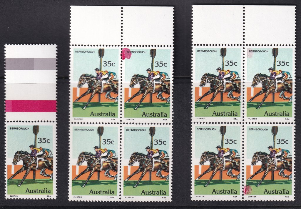 Australia 1978 35c Bernborough stamps with magenta spots. <br />Colour of spots match the magenta colour in the gutter strip.