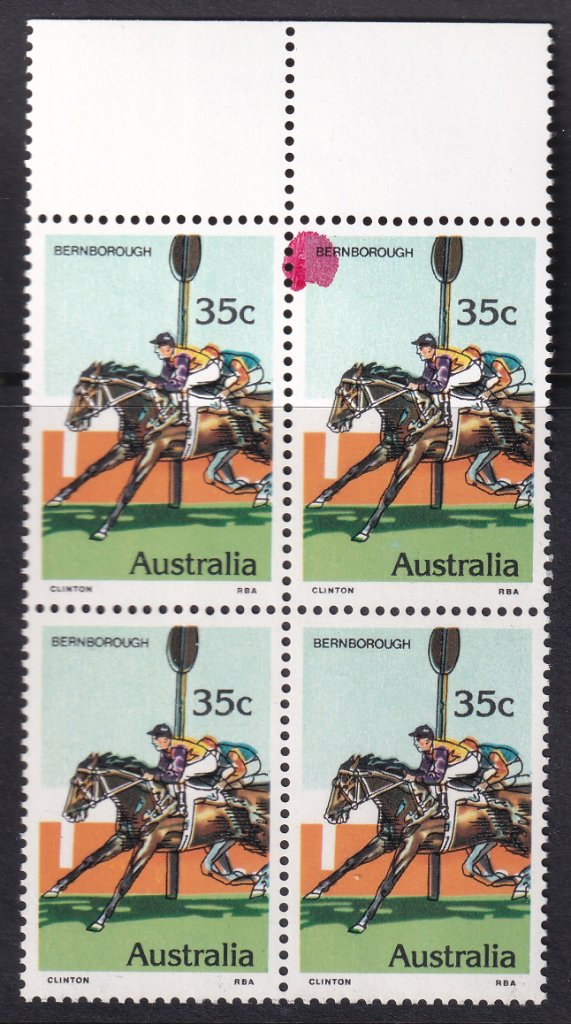 Australia 1978 35c Bernborough block of 4 stamps with magenta <br />ink spot on top right hand stamp