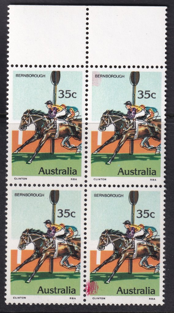 Australia 1978 35c Bernborough block of 4 stamps with magenta <br />ink spot on top &amp; bottom right hand stamps